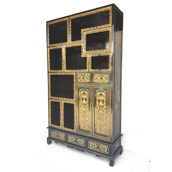 Custom Chinoiserie Hand Carved and Painted Black Lacquered Etagere