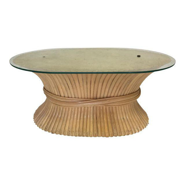 Sheaf of Wheat Rattan Oval Coffee Table