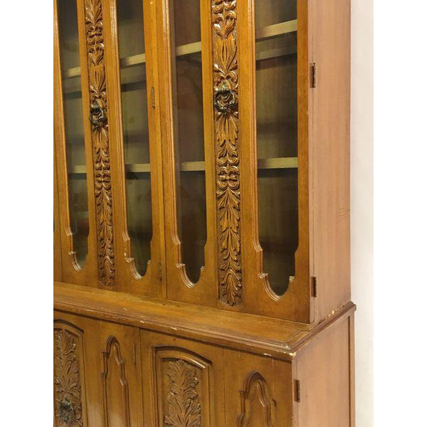 Art Deco Mid Century Wood Carved Display China Cabinet front