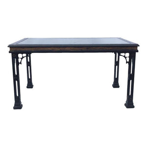Hollywood Regency Asian Chinoiserie Fretwork Black Dining Table