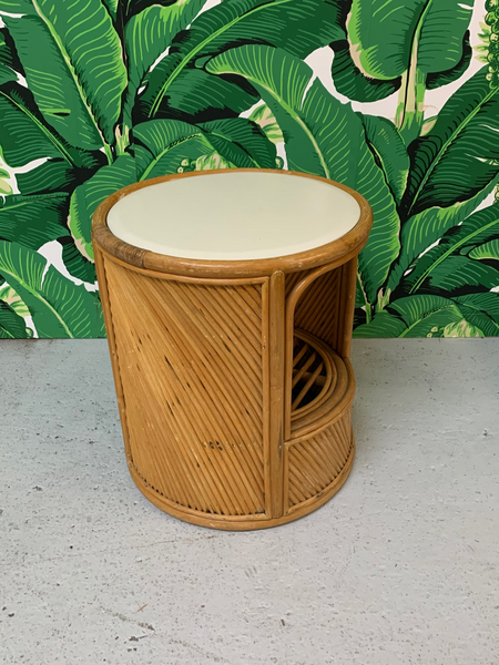 Split Reed Rattan Drum End Table in the Manner of Gabriella Crespi rear view