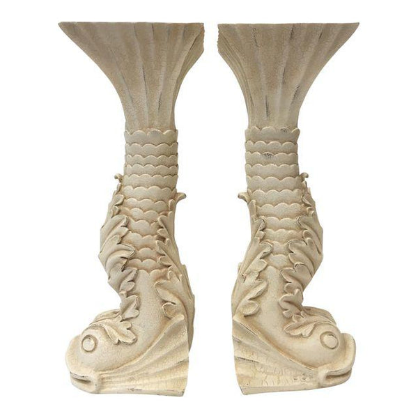 Pair of Asian Chinoiserie Dolphin Candle Holders