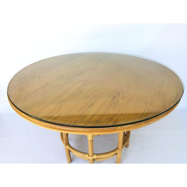 Brown Jordan Leather Rattan Bamboo Round Dining Table top