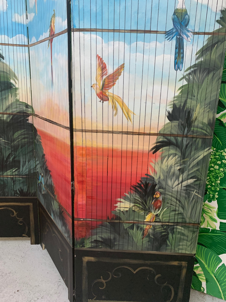 Large Hand Painted Birdcage 3 Panel Screen Room Divider close up