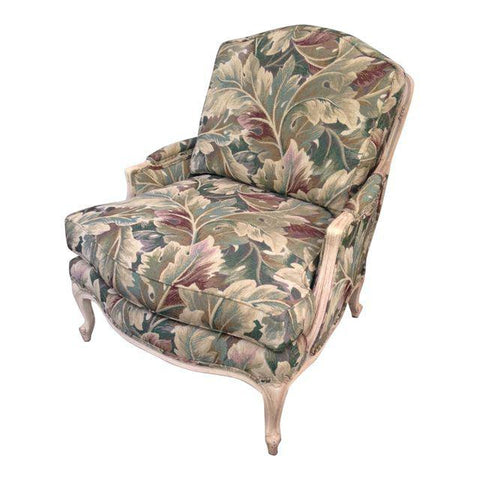 Louis XV Bergère Tropical Botanical Print Palm Club Chair