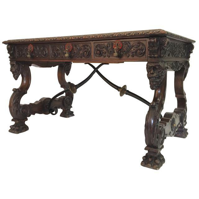 Italian Renaissance Revival Hand Carved Wood Writing Desk