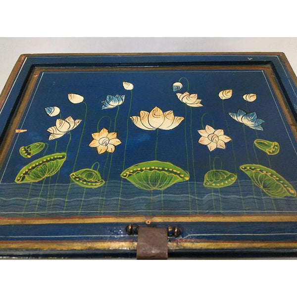 Vintage hand painted jewelry box top view