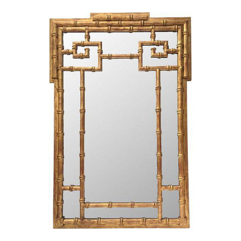 La Barge Asian Chinoiserie Gold Faux Bamboo Wall Mirror