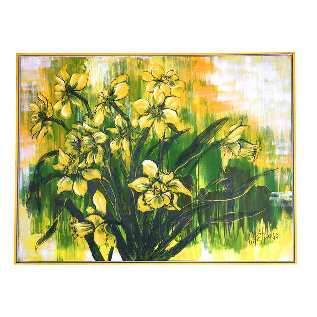 Large Mid-Century Hollywood Regency Floral Painting by C. Petterson