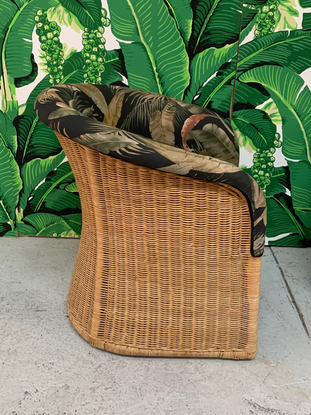 Sculptural Wicker Club Tropical Chairs, a Pair side view