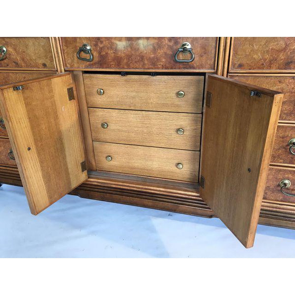 Asian Chinoiserie Burlwood 12-Drawer Dresser by American of Martinsville