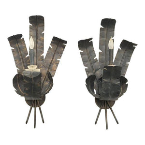 Pair of Large Tole Metal Banana and Palm Leaf Wall Sconces
