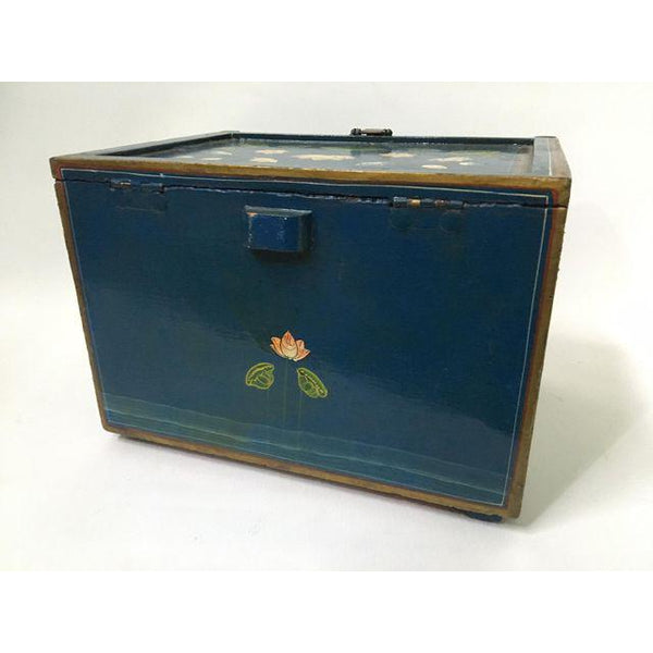 Vintage hand painted jewelry box rear view