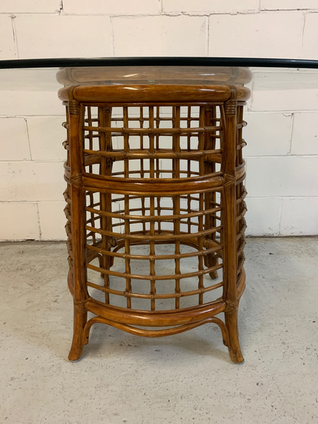 Rattan and Brass Dining Table side view