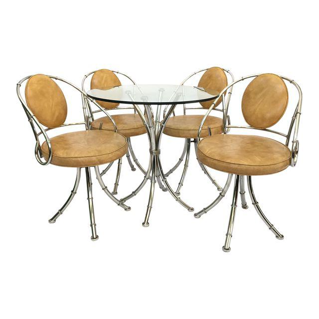 Mid-Century Hollywood Regency Chrome Bamboo Bistro Dining Set - Set of 5