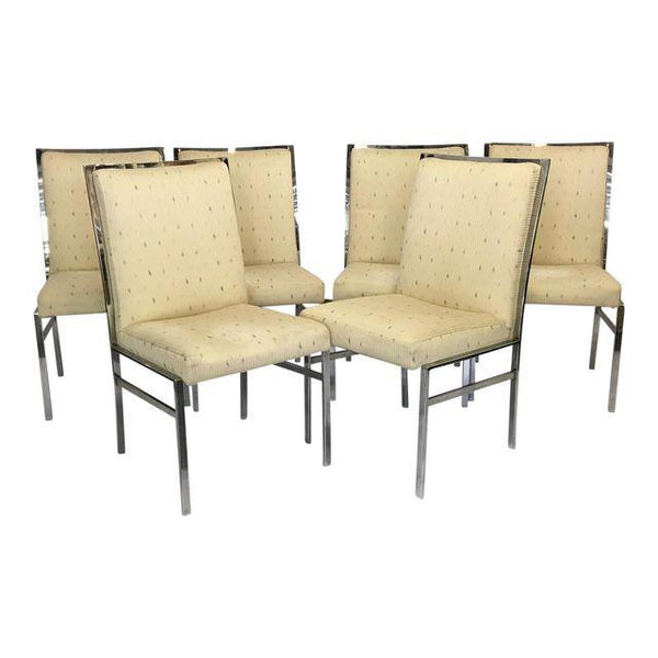 Chrome Upholstered Dining Chairs After Milo Baughman