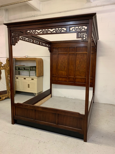 Asian Chinoiserie Queen Size Opium Canopy Bed by Bernhardt front view