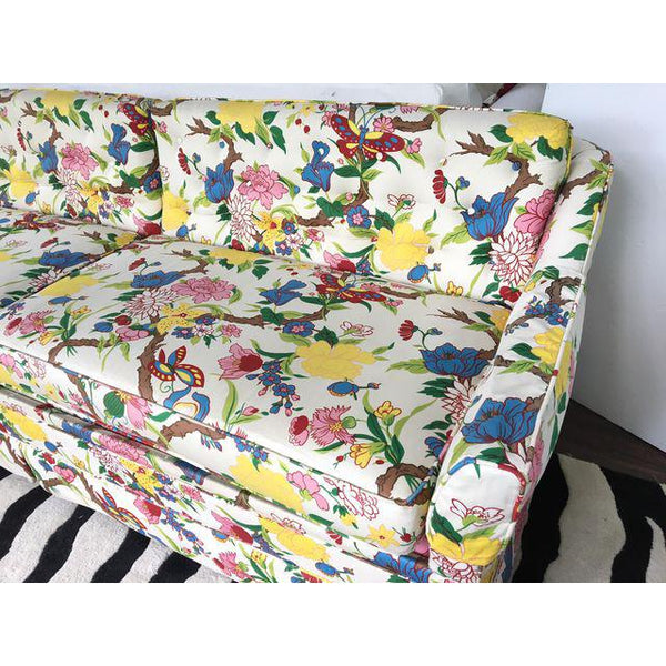 Dorothy Draper Style Hollywood Regency Floral Print Sofa