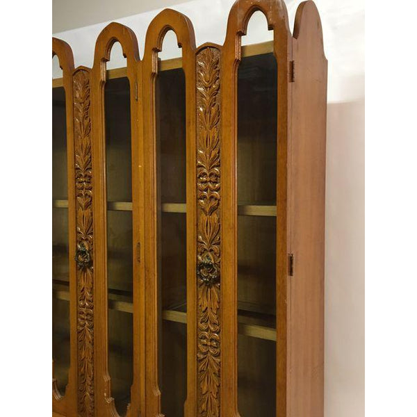 Art Deco Mid Century Wood Carved Display China Cabinet top