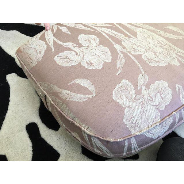 Henredon Mid Century Tufted Floral Soft Pink Tonal Sofa