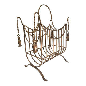 vintage hollywood regency style magazine rack with tassels