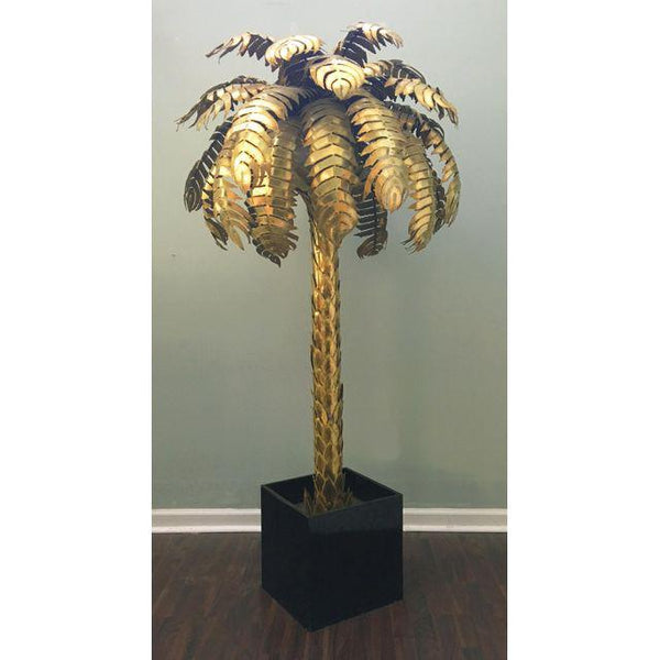 Maison Jansen Style Hollywood Regency Brass Palm Tree Floor Lamp front