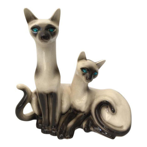 Vintage Lane & Co. Van Nuys Ceramic Siamese Cat TV Lamp
