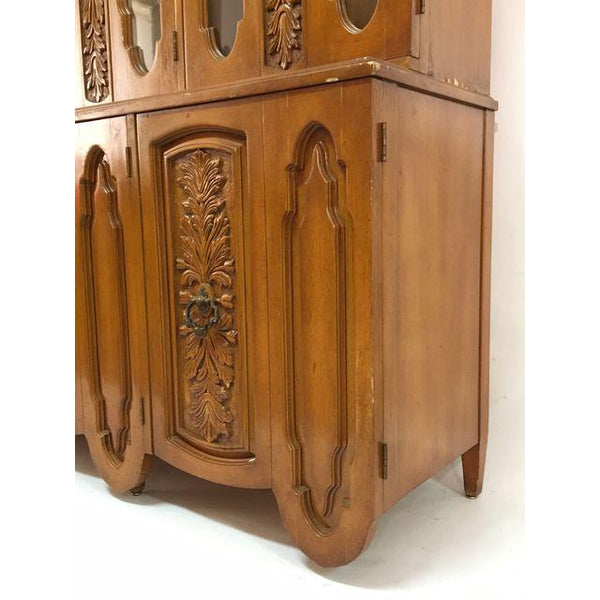 Art Deco Mid Century Wood Carved Display China Cabinet base