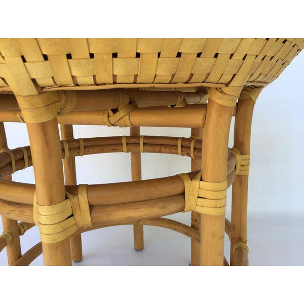Brown Jordan Leather Rattan Bamboo Round Dining Table close up