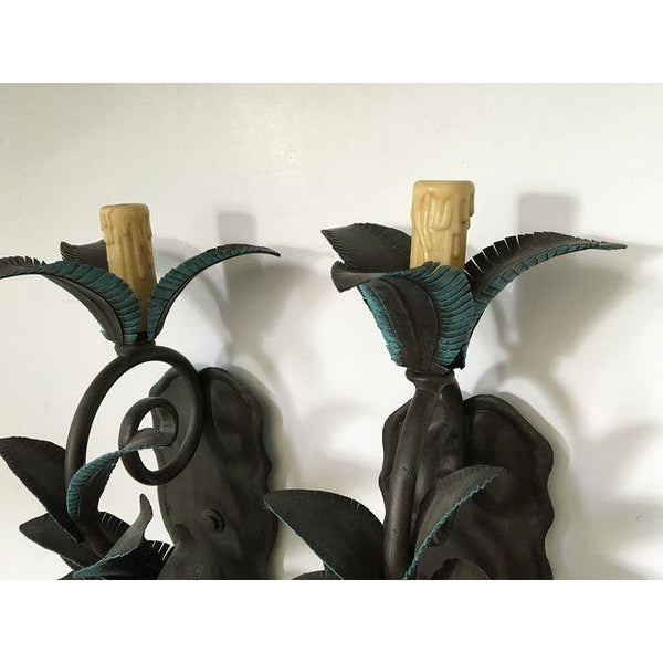 Pair of Arte De Mexico Palm Tree Wall Sconces