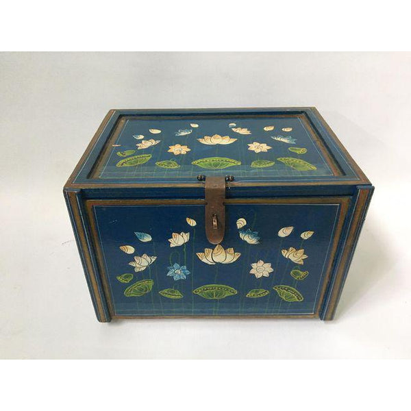 Vintage hand painted jewelry box front view