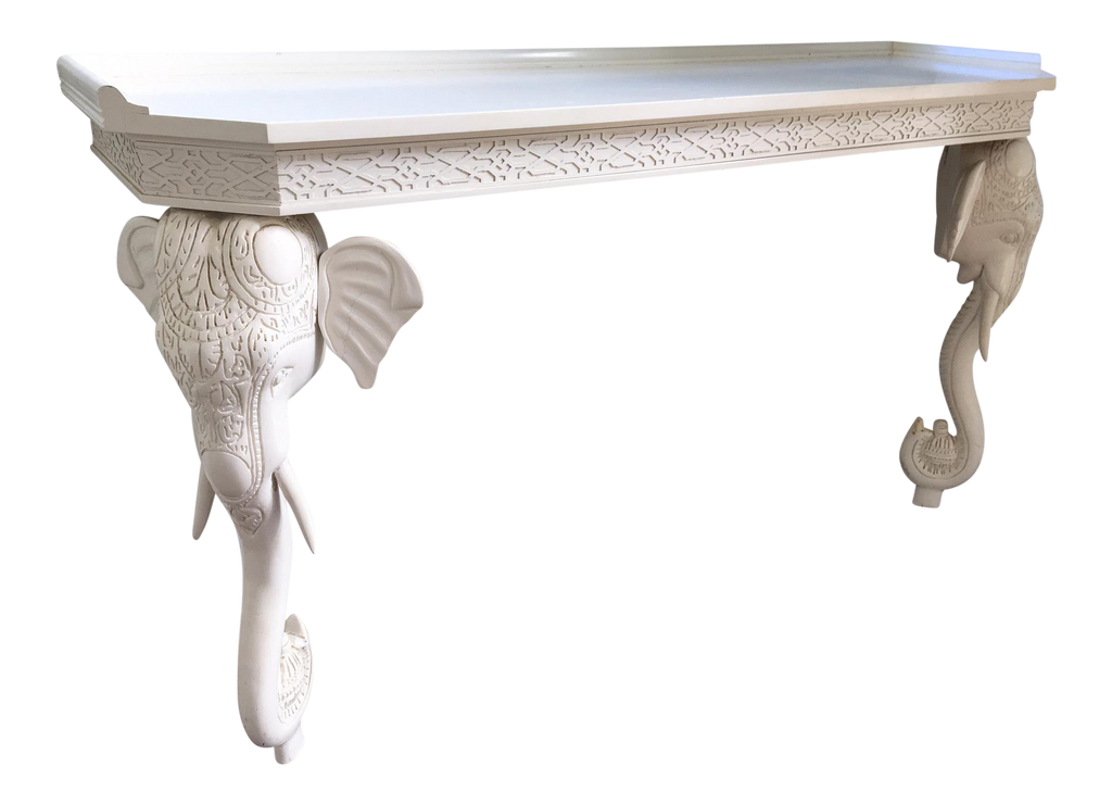 GampelStoll Sculptural Carved Elephant Console Table Marjorie and