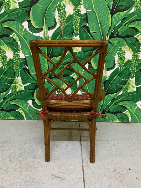 Set of Six Rattan Chinoiserie Faux Bamboo Dining Chairs rear view