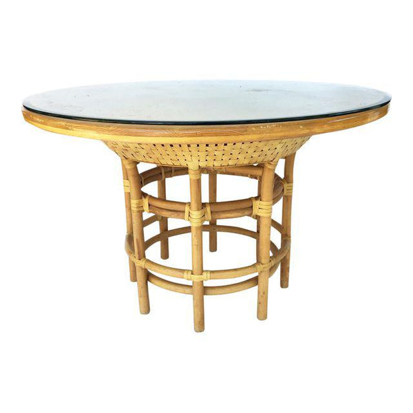 Brown Jordan Leather Rattan Bamboo Round Dining Table