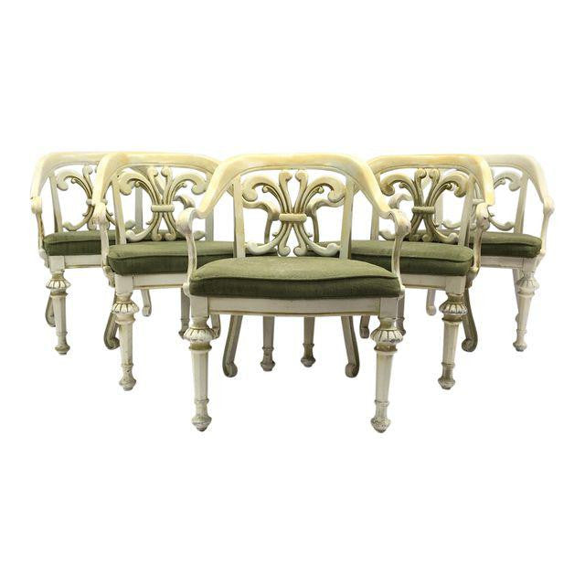 Set of 5 Dorothy Draper Enamel Cast Metal Patio Chairs