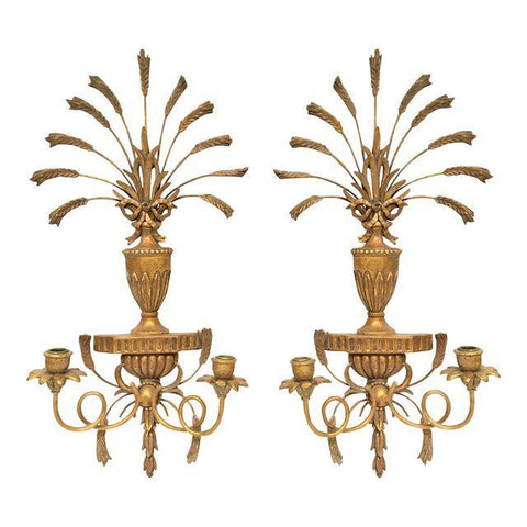 Italian Gilt Hand-Carved Wall Sconces - Pair