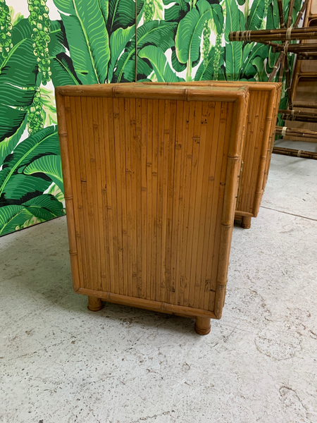 Bamboo and Rattan Chinoiserie Nightstands side view