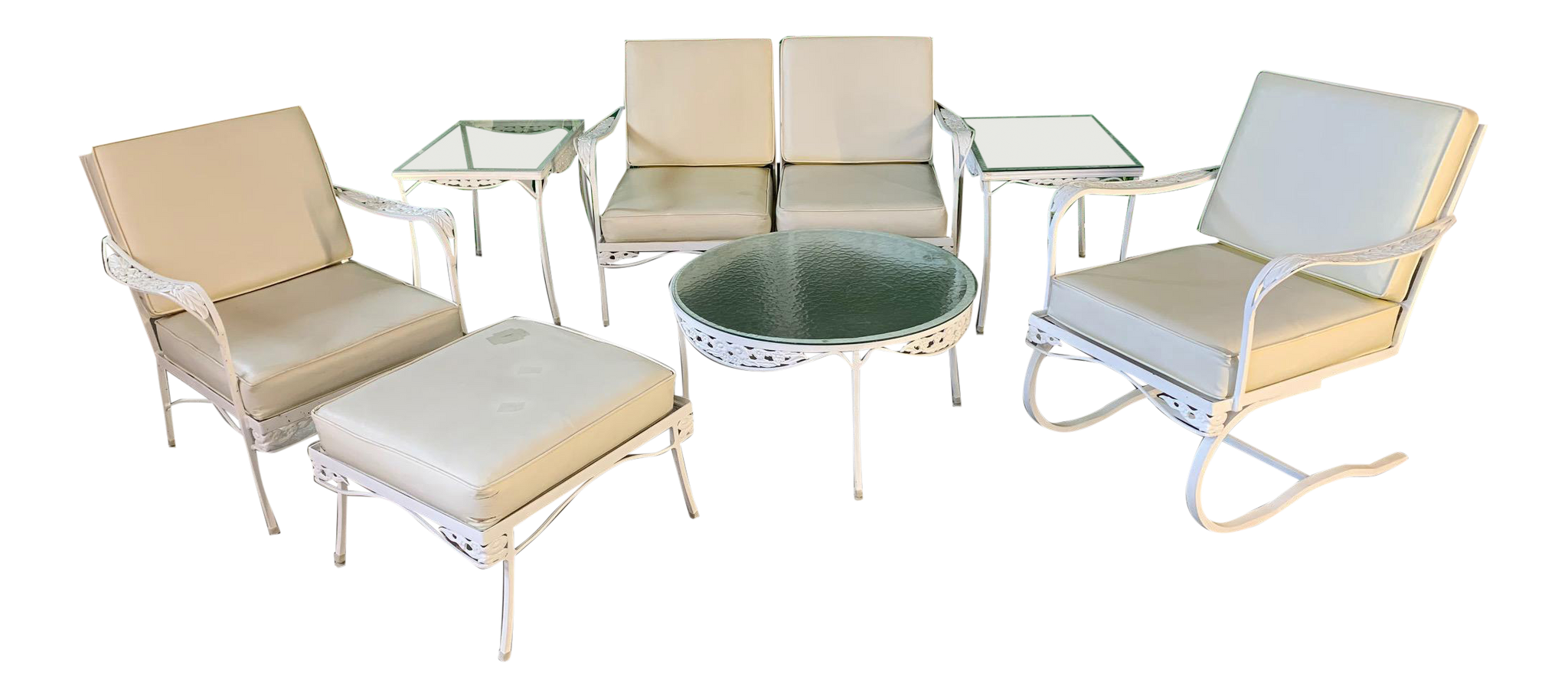 7-Piece Mid Century Patio Set in the Style of Russell Woodard