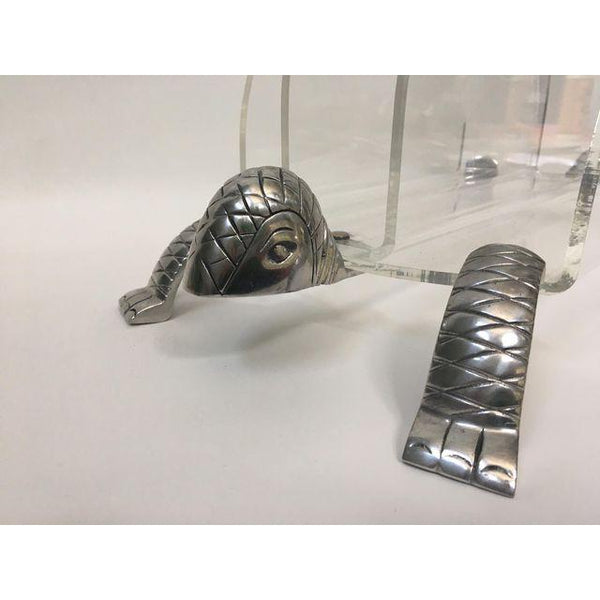 Hollywood Regency Arthur Court Turtle Lucite and Aluminum Magazine Rack