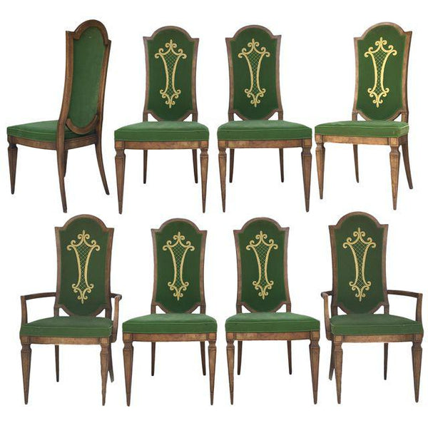 Dorothy Draper for Heritage Green Velvet with Embroidery Dining Chairs- Set of 8