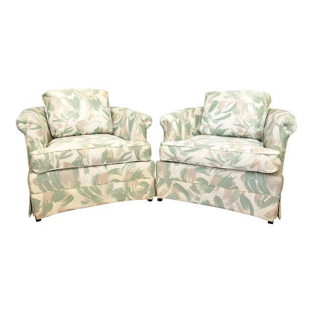 Pair of 1980s Art Deco Upholstered Club Chairs