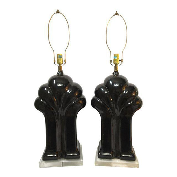 Pair of Art Deco Black Ceramic and Lucite Waterfall Table Lamps front view