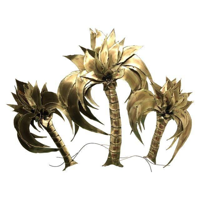 1970's Stephen Vat Mixed Metal Palm Tree Wall Sculpture