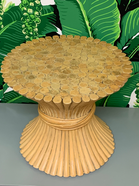 Rattan Sheaf of Wheat Footstool in the Manner of McGuire top view