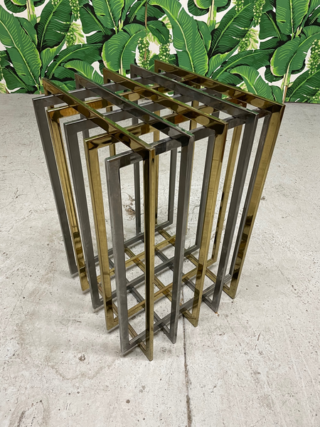 Pierre Cardin Chrome and Brass Brutalist Cube Dining Table front view