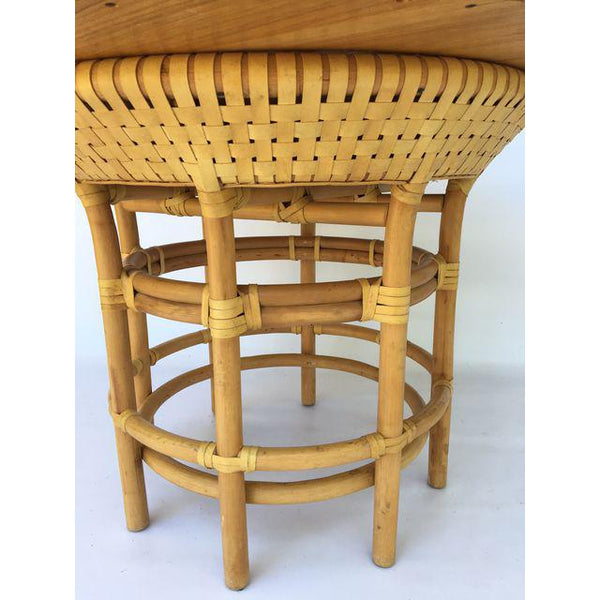 Brown Jordan Leather Rattan Bamboo Round Dining Table base