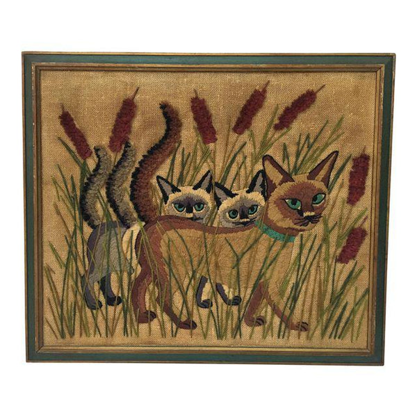 "Vintage ""Cat Tails in Cattails"" Framed Embroidery"