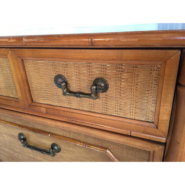 Broyhill Caned Rattan and Faux Bamboo Dresser close up