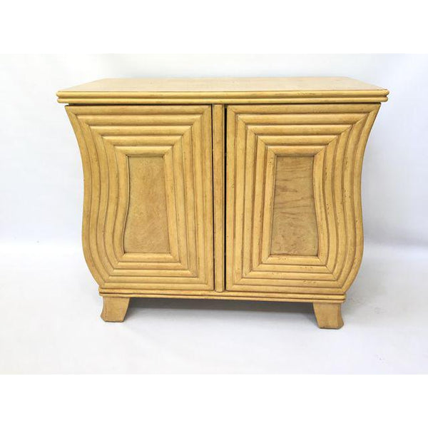 Art Deco Hollywood Regency Curved Wood Cabinet front view