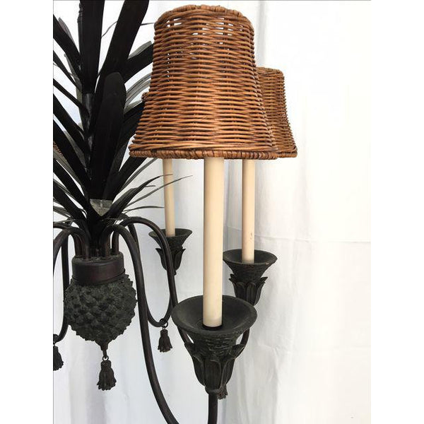 Tole Metal Six Arm Pineapple Chandelier